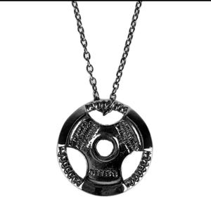 Other - 🏋️ NWOT Large Weight Plate Black Necklace
